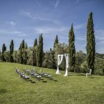 Megan Nicholas ceremony setting for their wedding in tuscany