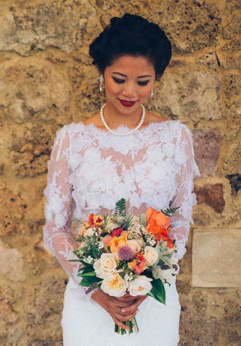 Bride Bohemian wedding style boquet