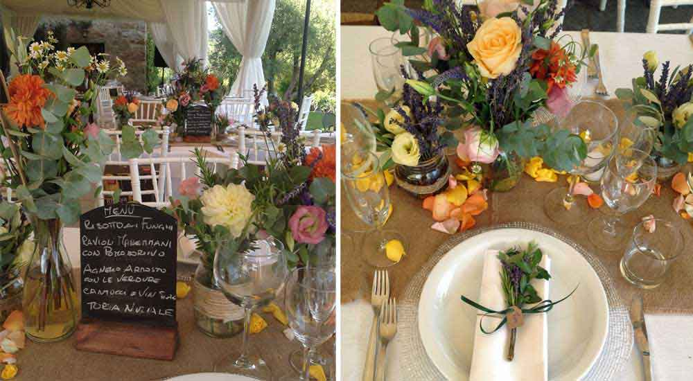 Country chic wedding reception tuscany