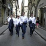 Best Men and groom walking in heart of Florence