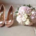 Wedding bride shoes flowered