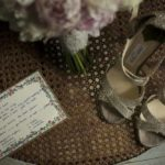 Wedding bride shoes green